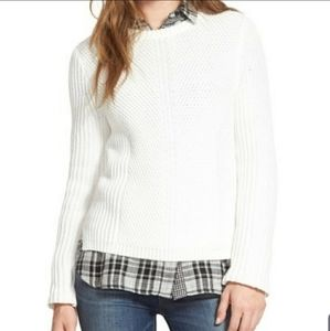 Madewell White Cream Thick Knit Textured Sweater